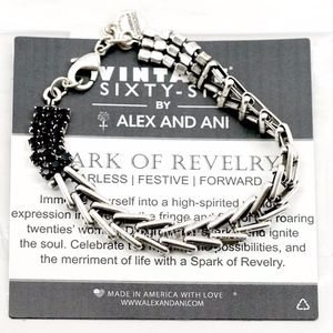 Alex And Ani Jet Silver Flapper Bracelet